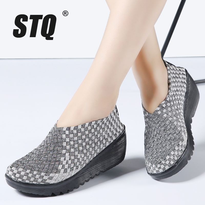 STQ 2020 Autumn Women Platform Sneakers Shoes Women Woven Flat Shoes Thick Heel Gladiator Sandals Slip On Platform Shoes 866