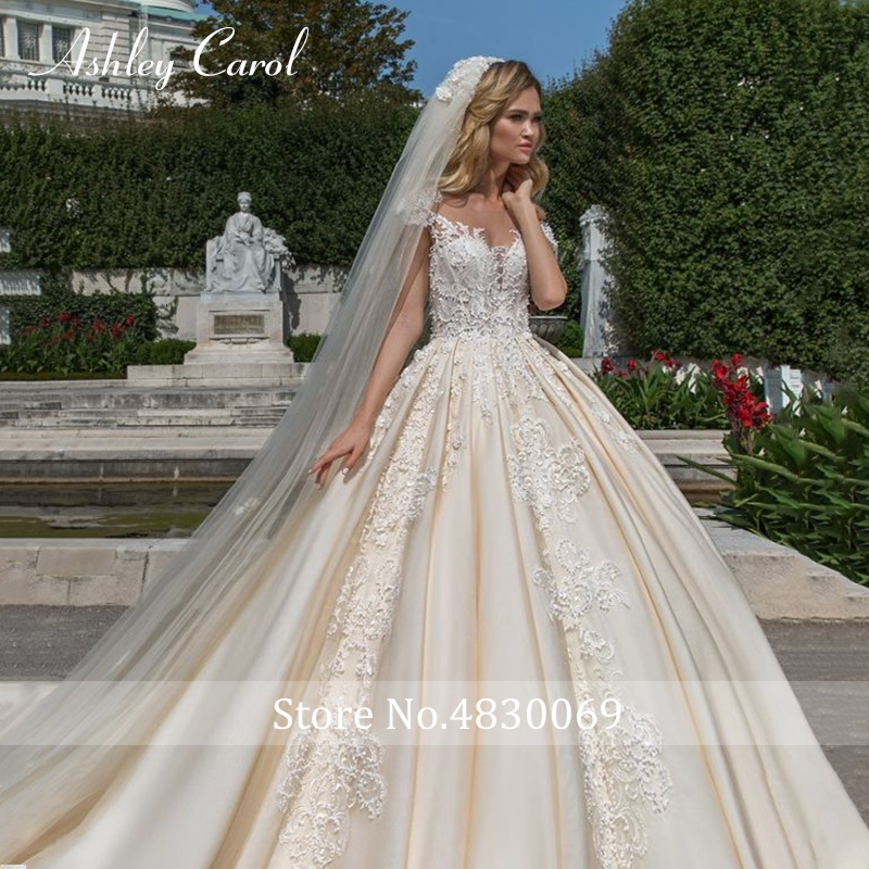 Image 5 - Ashley Carol Short A Line Wedding Dresses 2020 Sweetheart Luxury Beaded Appliques Button Princess Bride Cathedral Bridal GownsWedding Dresses   -