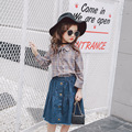 Kids clothes Girls clothing sets Vetement enfant fille Girls clothes Ensemble fille Girl summer clothes blouse+denim skirt suits