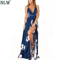 NLW Donne Sexy Summer Beach Boho Maxi Vestido 2018 V Neck Floral Stampa Maiusc Abiti Blu Backless Alta Della Fessura Lunga Vestidos