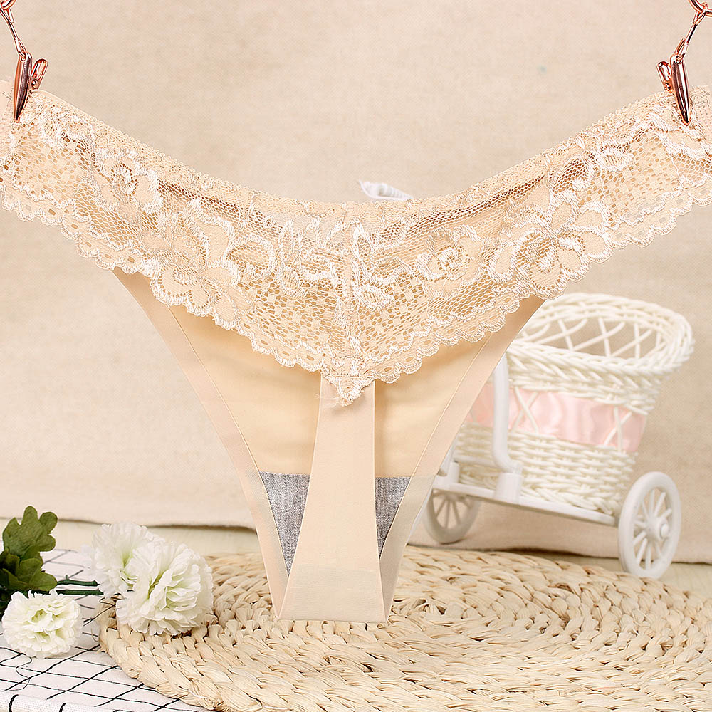 1PC Sexy Women G-string Thongs Lace Floral Sheer Low Waist Underwear Soft Lingerie Ice Silk Briefs Seamless Panties 4