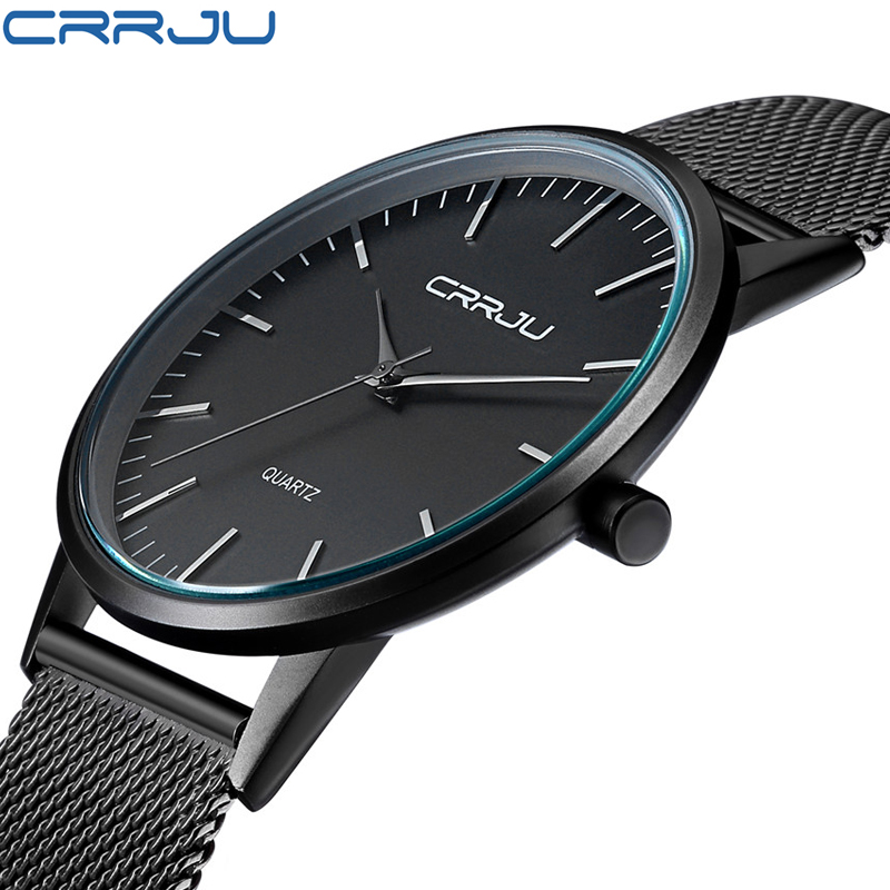 Mens Watches Brand Luxury watch Casual men Black Japan quartz watch stainless steel Mesh strap ultra thin clock male gift