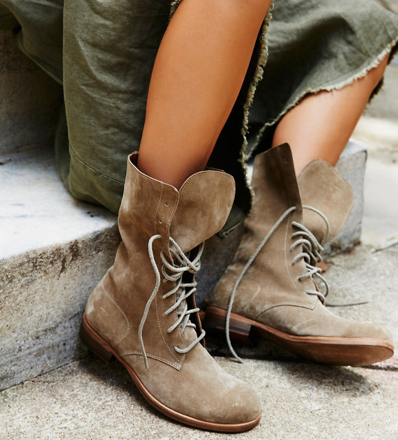 dfc2c6be6094 LTTL New Arrival Lace-Up Ankle Boots Faux Suede Flat Bottom Round Toe Women  Shoes Street Causal Style Women Short Western Boots