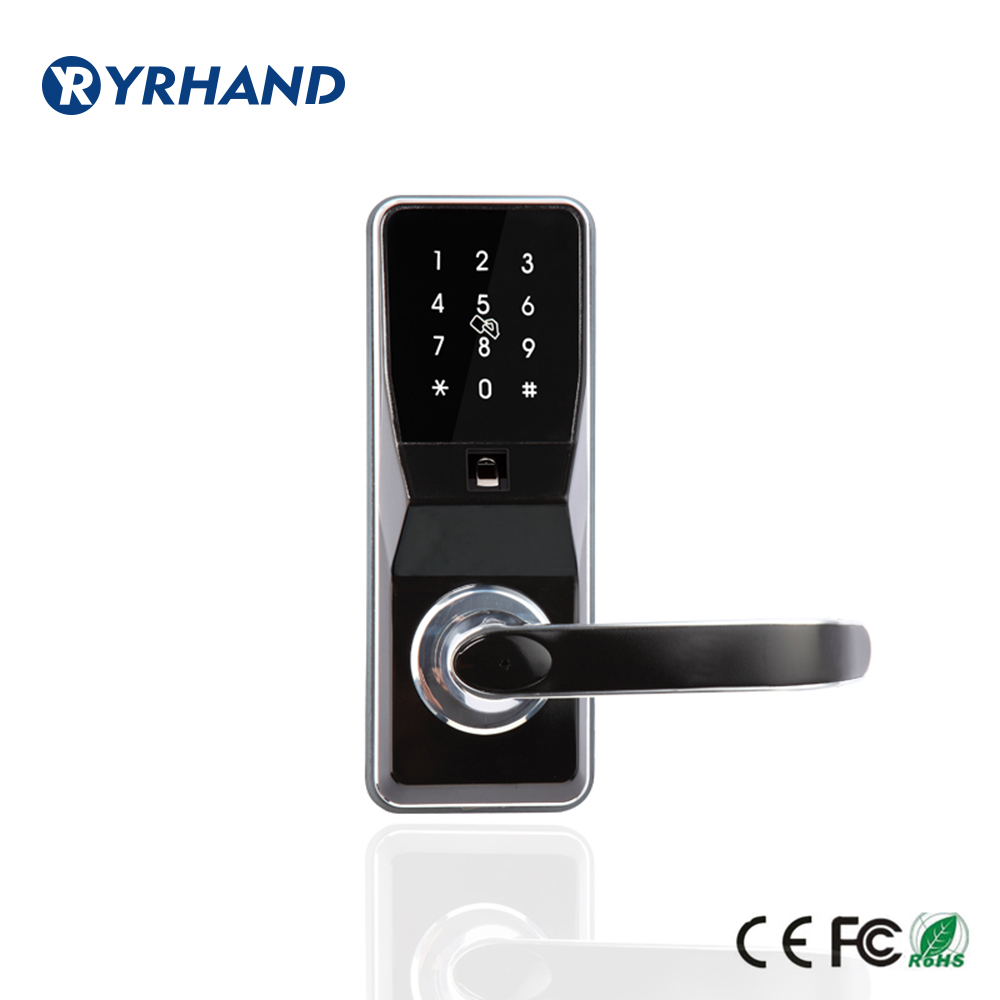 Fingerprint Door Lock unlock by pincode Card fingerprint and mechanical Key with 2 cards 5 keychains
