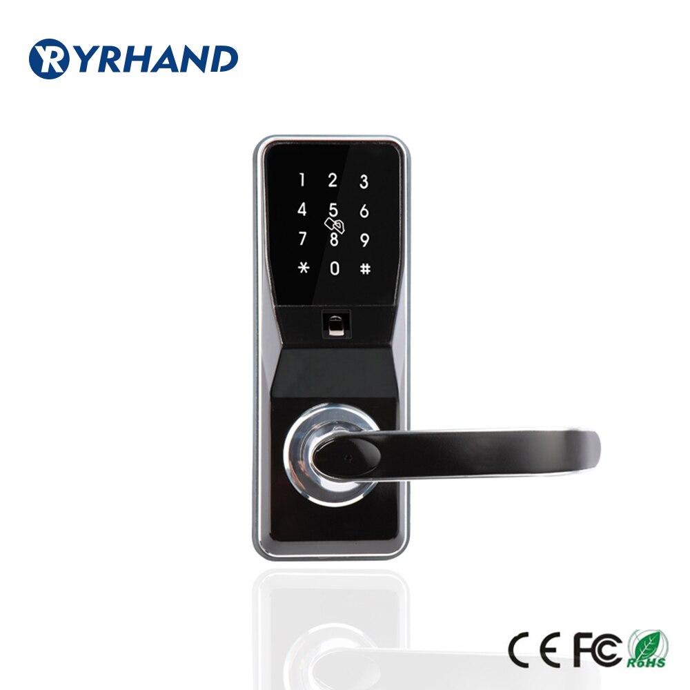 Fingerprint Türschloss entriegeln durch pincode, Karte, fingerprint und mechanische Schlüssel mit 2 karten, 5 schlüsselanhänger, 2 schlüssel-in Elektroschloss aus Sicherheit und Schutz bei  Gruppe 1