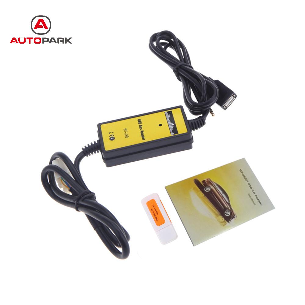 Prix pour Professionnel Auto Voiture USB Aux-In Câble Adaptateur Lecteur MP3 Radio Interface pour Toyota Camry/Corolla/Matrice 2 * 6Pin Audio AUX Câble