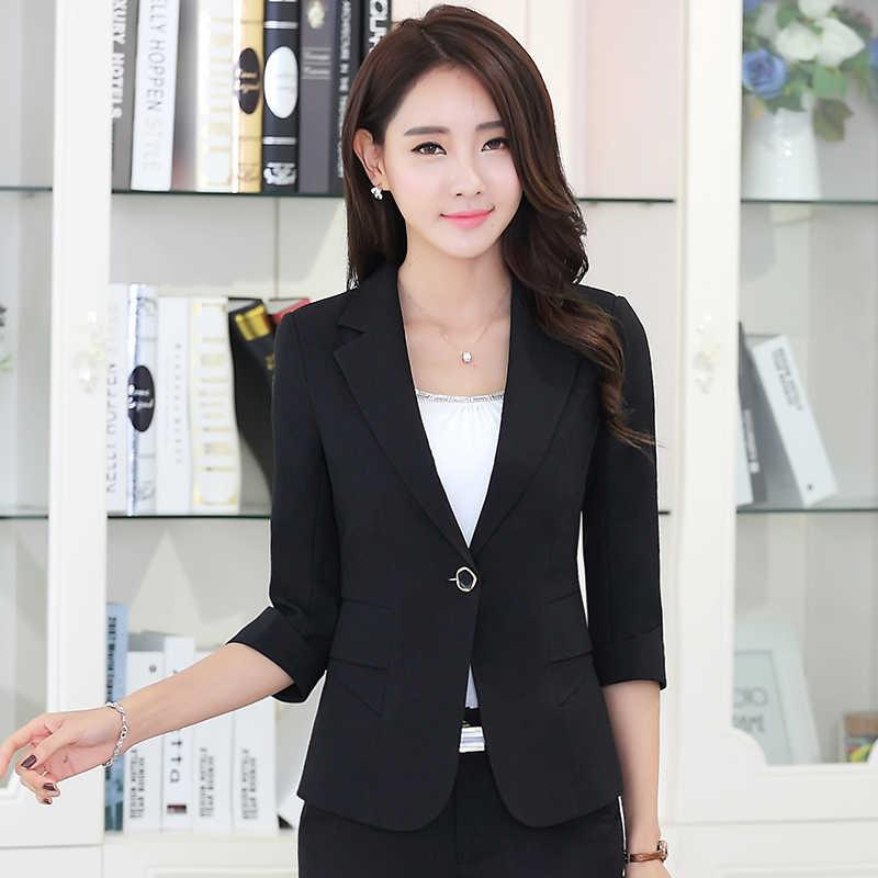 b41782b50de ... Fashion elegant autumn slim work wear women formal half sleeve sky blue blazers  coats female office ...