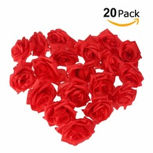 20pcs/lot 5cm Simulation Rose Flower Head Wine red flower For DIY Handmade Wedding Decoration