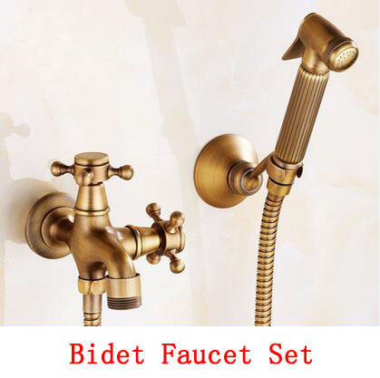 ФОТО Bathroom wall mounted bidet faucet set,Antique brass handheld bidet spray shower set, Copper toilet flushing device suit vintage