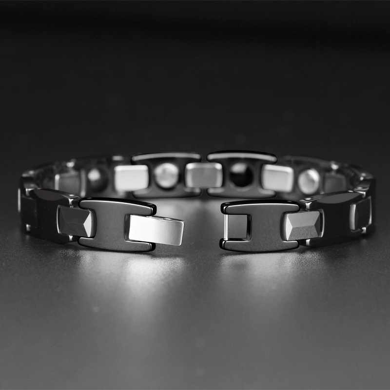 Black Ceramic Health Magnetic Energy Tungsten Carbide Bracelet Bangle for Arthritis Hologram Bracelets with Free Removal Tool