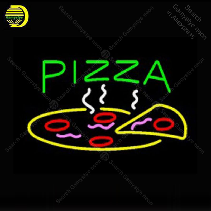 Sinal de néon Pizza Slice ABRIR sinal Lâmpada de Néon de Arcade Display Decorar artesanato Beer Bar Restaurante Negócios luz neon do vintage