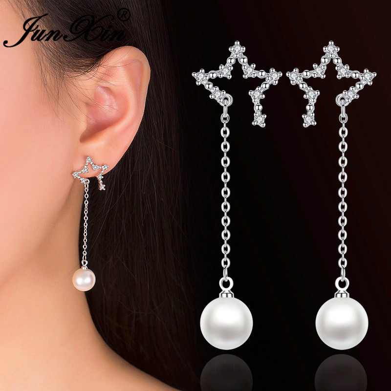 JUNXIN Cute Open Star Earrings White Crystal Round Bead Pearl Drop Earrings For Women Silver Color Wedding Long Tassel Earrings