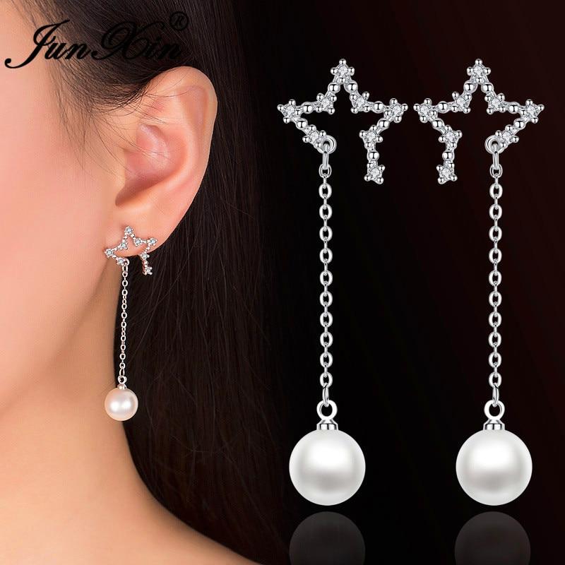 JUNXIN Cute Open Star Earrings White Crystal Round Bead Pearl Drop Earrings For Women Silver Color Wedding Long Tassel Earrings