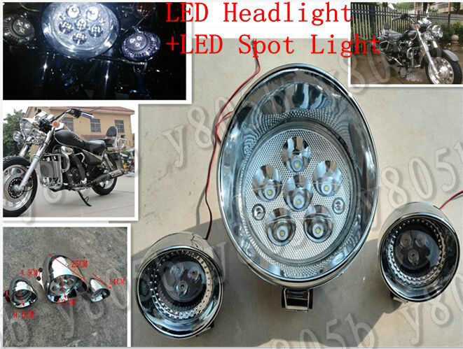 Motorcycle 7 LED Headlight+ Spot Light For Honda Shadow Spirit Sabre Aero ACE Steed VLX 400 600 1100 DLX VTX1300 1800 Magna VF