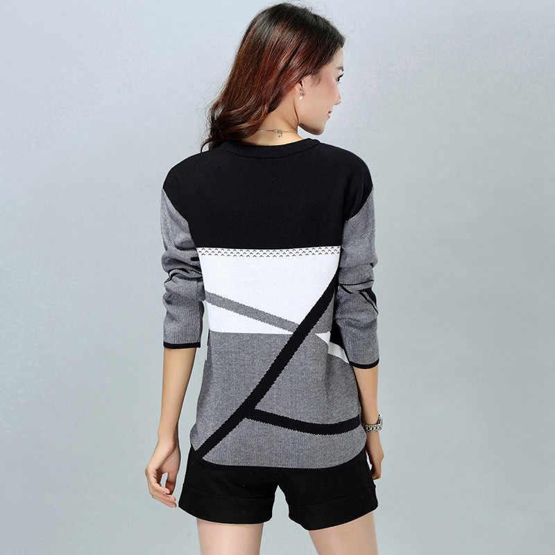 겨울 스웨터 여성 패치 워크 니트 스웨터 Pullovers 패션 긴 소매 O-neck 따뜻한 레이디 기하학 니트 스웨터 L103