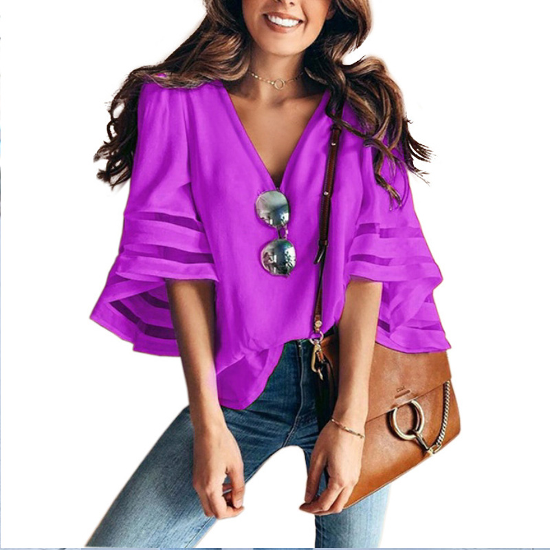 Women 3/4 Flare Sleeve Chiffon Blouse Summer Autumn V Neck Loose Tops Mesh Stitching Tunic Shirt Plus Size 5