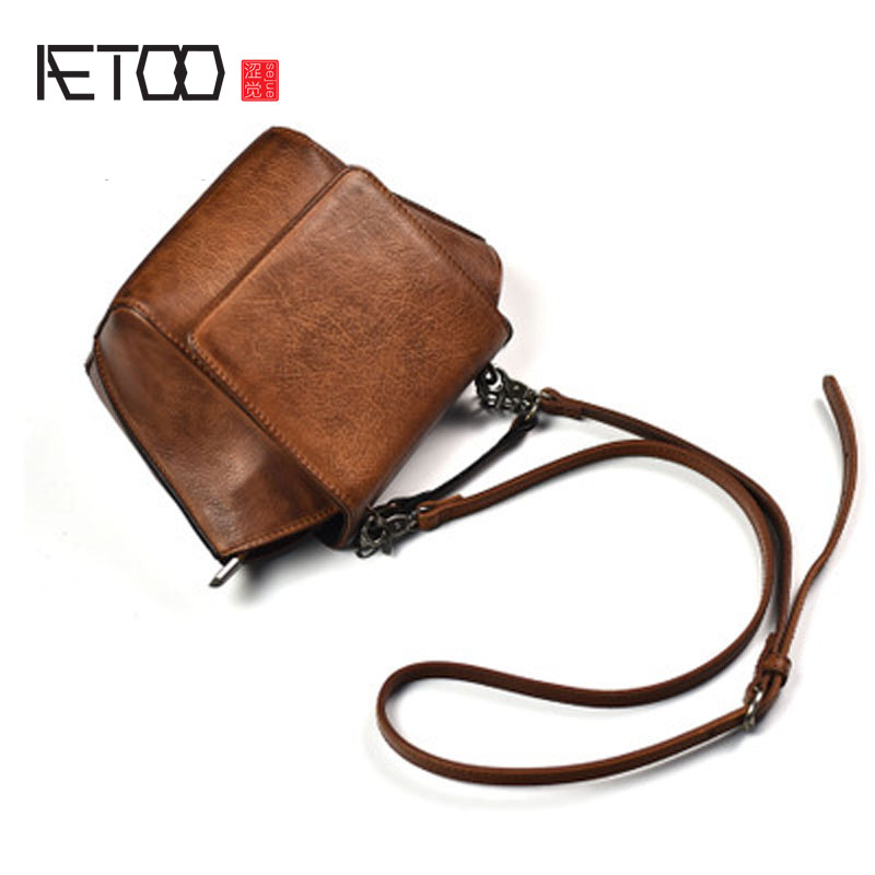 AETOO Original culture retro first layer of leather mini bag shoulder Messenger personalized leather bag with the same package qiaobao 2018 new korean version of the first layer of women s leather packet messenger bag female shoulder diagonal cross bag