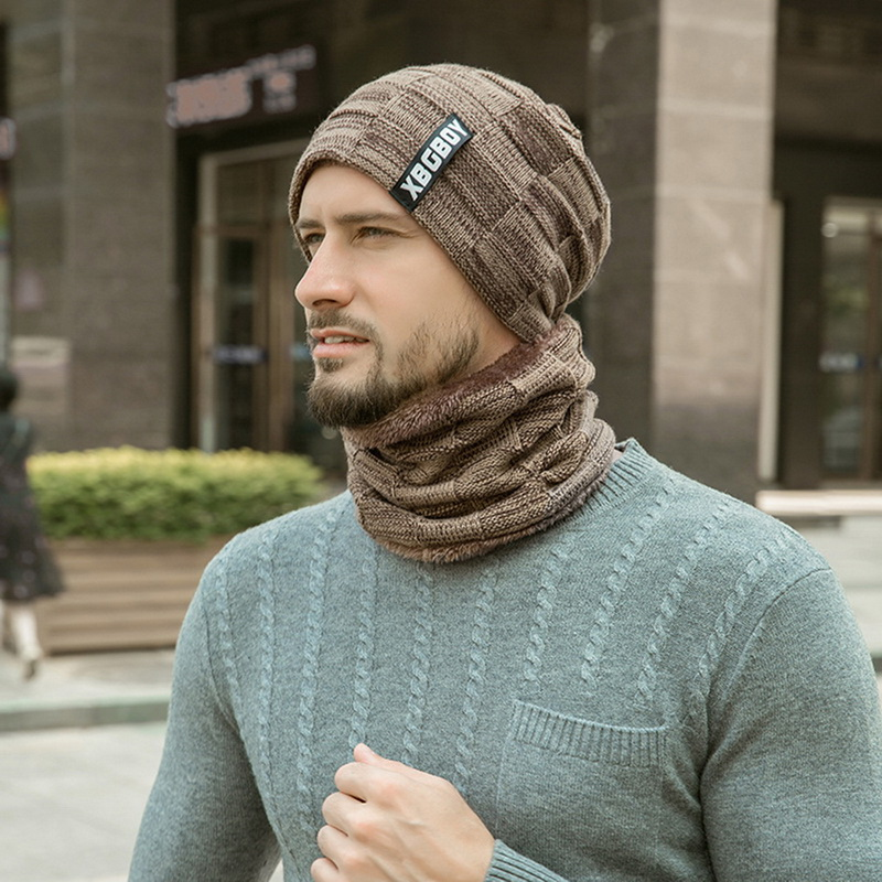 f5645552b10 2019 SHUJIN 2018 Winter Beanies Men Knitted Hat Caps Warm Bonnet Men ...