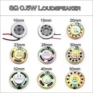 YuXi 2pcs/lot 8R 0.5W Horn Loud Speaker Buzzer Ringer 10mm 15mm 20mm 23mm 26mm 30mm 32mm 40mm 50mm 8 ohm 0.5W Small loudspeaker(China)