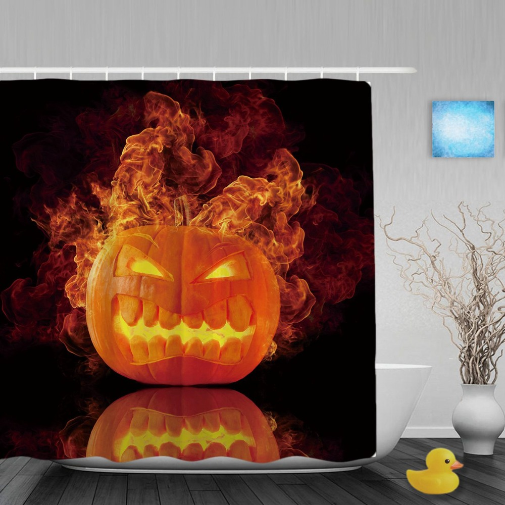 Halloween shower curtain hooks - Halloween Home Decor Shower Cutains The Pumpkin On Fire Bathroom Shower Curtains Polyester Waterproof Fabric With Hooks