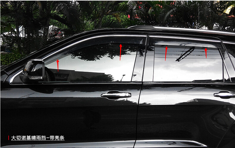 New Window Visor Rain Sun Guard Vent Deflector 4pcs WITH Chrome stripeFor JEEP Grand Cherokee 2014 2015 2013 2012 2011 window visor rain sun deflector shade guards 4pcs for land rover discovery 4 lr4 2015 2014 2013 2012 2011 2010