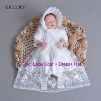Newest Brand Baby Girl Dress With Shawl + Hat for Girls Infant 1 Year Birthday Party Baptism Christening Gown High Quality
