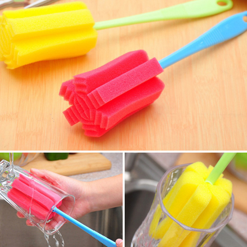 Popular Sponge Brush Baby Bottle Brush Cup Glass Washing Cleaning Kitchen Cleaner ToolPopular Sponge Brush Baby Bottle Brush Cup Glass Washing Cleaning Kitchen Cleaner Tool