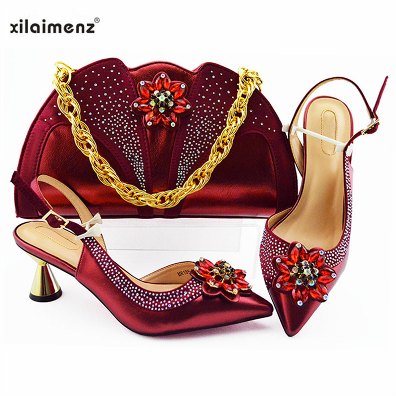 Elegancki styl wino kolor nigerii buty z pasującymi zestaw toreb buta i torba zestaw na imprezę dla kobiet Hot sprzedaży dla royal Party w Buty damskie na słupku od Buty na  Grupa 1