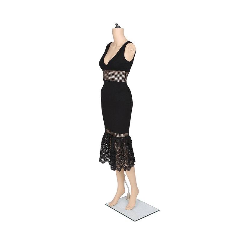 ZTVitality 2017 Crna čipka šuplje V - izrez bez rukava Vestido De - Ženska odjeća - Foto 5