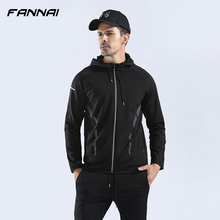Men Running Jacket Hooded Long Sleeve Dry Fit Fitness Workout Sport Coat Training Jersey Gym Bodybuilding Clothes Sportswear