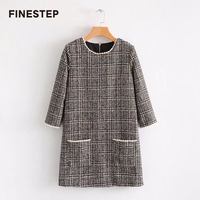 Autumn Winter Women Plaid Dresses Gray Plaid Long Sleeves Dress Round Neck Loose Vestidos
