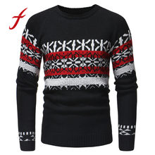 Retro Men's Sweaters Winter Pullover Knitted Printed Casual Sweaters Clothes Outwear Harajuku Autumn Tops New Fashion 2018(China)
