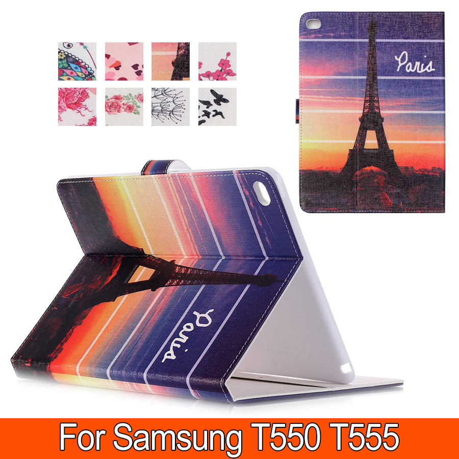 Fashion Patterns Smart Cover Case For Samsung Tab A T550 T555 PU Leather with Stand Wallet for T550 9.7 inch free shipping