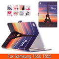 Fashion Patterns Smart Cover Case For Samsung Tab A T550 T555 PU Leather with Stand Wallet for T550 9.7' inch free shipping