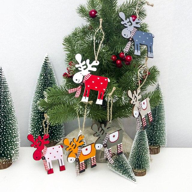 1 pc Sveglio di Legno Alce Albero Di Natale Decorazioni Ciondolo Appeso Cervi De