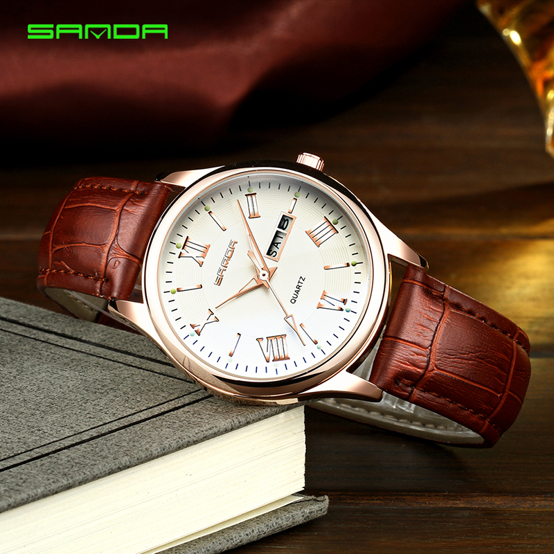Brand Luxury Men's Watch Date Day Genuine Leather Strap Sport Watches Male Casual Quartz Watch Men Wristwatch Famous Clock цена