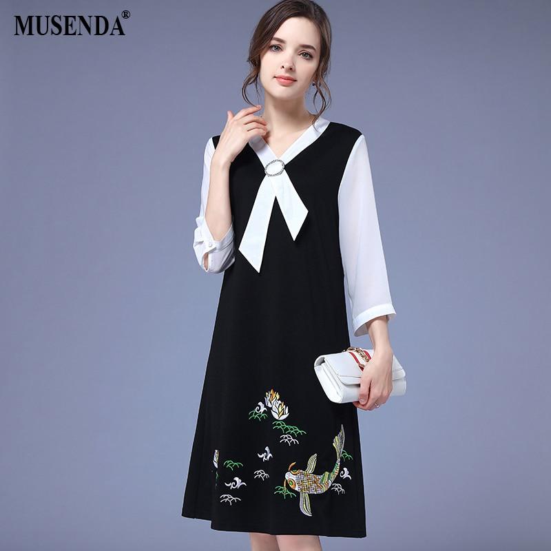 MUSENDA плюс размер женское черно-белое лоскутное платье с вышивкой и бантом 2018 летний сарафан женские повседневные платья одежда 5XL