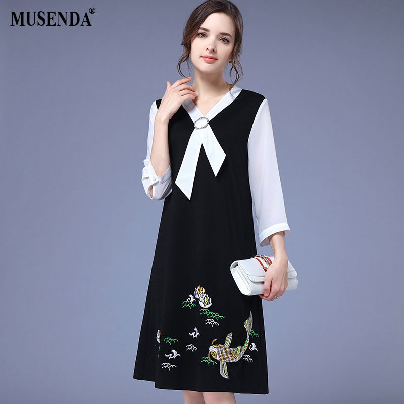 MUSENDA Plus Size Women Black White Patchwork Bow Embroidery Dress 2018 Summer Sundress Female Ladies Casual Dresses Clothes 5XL