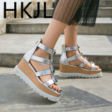 HKJL Summer 2019 High Heel Toe slope heel pure color European and American sandals with drill wrapped zipper Q007