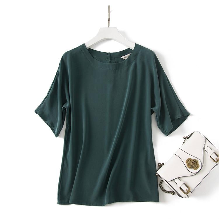Vert T Mûrier Nouveau Courtes Soie shirt 2017 Lâche D'été Femme Du Mercerisé Style À Simple Manches Or Soie qw0XqAp