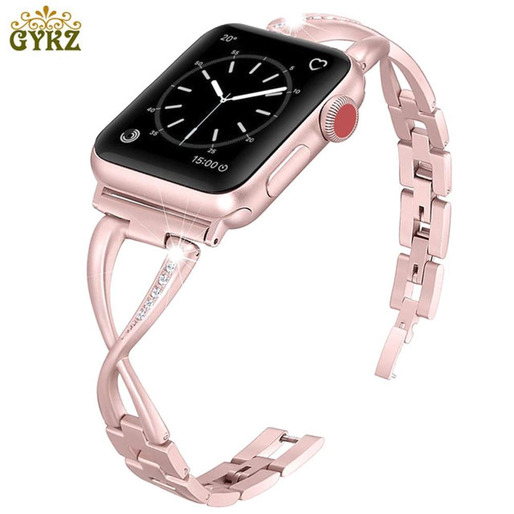 GYKZ mujeres banda de reloj para bandas de Apple Watch 38mm 42mm 40mm 44mm de correa de acero inoxidable para iwatch serie 4 3 2 1 pulsera