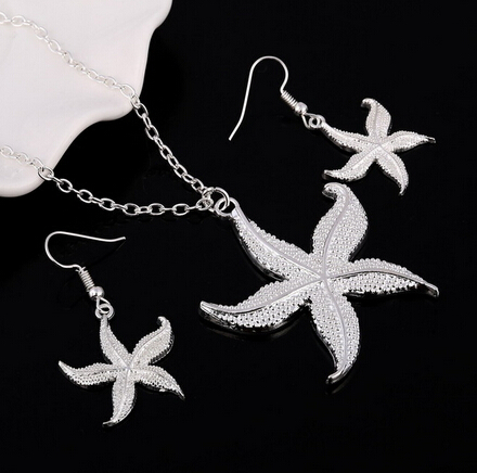 Fashion Silver Jewelry Sets Pendant & Necklaces Drop Earrings For Women Sets Free Shipping Jewelry Sets Wedding Party Set #6
