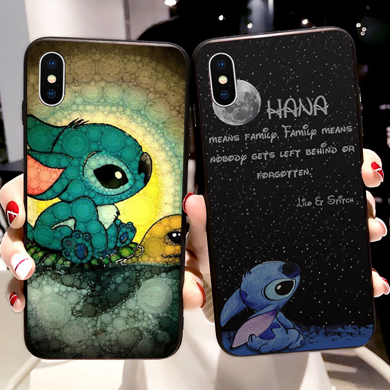 6S Case Lilo Stitch Ohana Cartoon Funny Soft Silicone Phone Case for iPhone X 5 S 5S SE XR XS Max 6 7 8 Plus Cover Fundas Coque