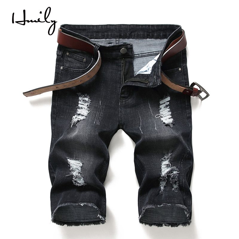 HMILY Men Jeans Short-Pants Casual-Hole Big-Size Fashion Korean Black-Color Comfortable