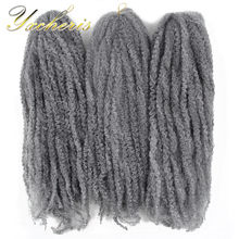 "YXCHERISHAIR Marley Braid Hair 18"" Long Grey Blonde Heat Resistant Afro Synthetic Kinky Curly Hair Extensions(China)"