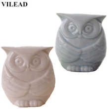 VILEAD 4.7 Ceramic Owl Figurines Blue White Wise Ornament Vintage Home Decor Animal Model Miniatures Decoration Gifts