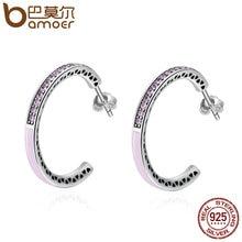 Bamoer Подлинная стерлингового серебра 925 Сияющий сердца, светло-розовый эмалью и ясно Серьги-кольца для Для женщин jewelry Bijoux SCE053