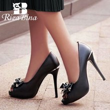 RizaBina Ladies High Heel Shoes Women Open Toe Bowknot Mixed Color Slip On Heels Pumps Daily Office Footwear Size 32-43