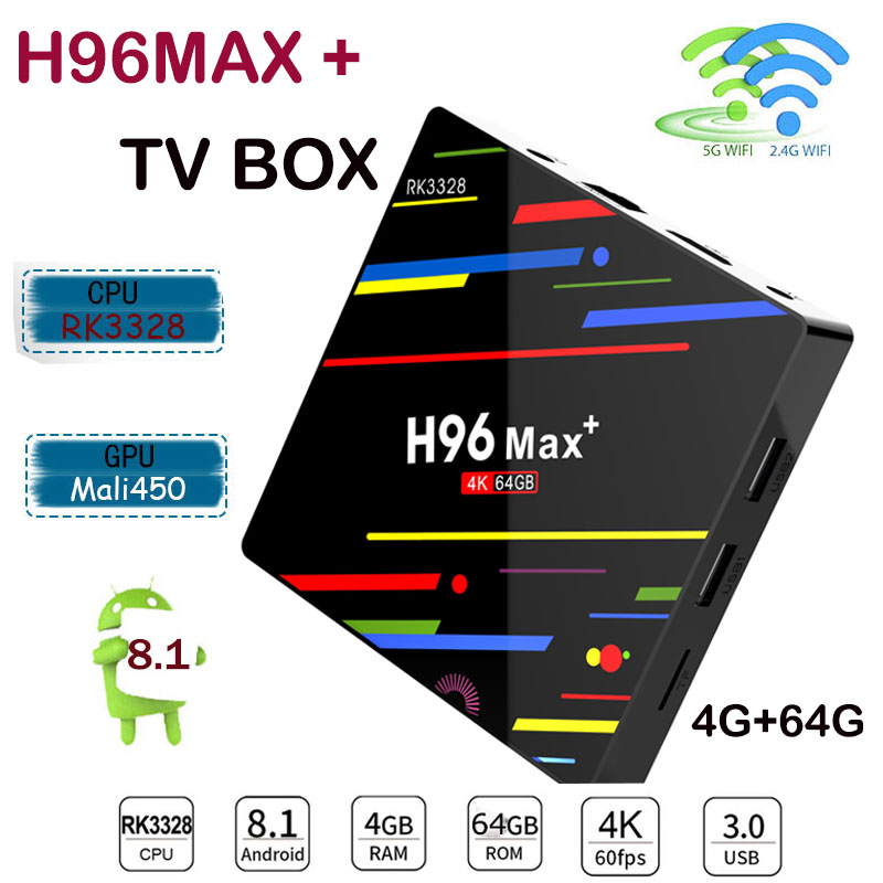 все цены на 2018 H96 Max+ tv box Android 8.1 RK3328 Quad Core 4GB/64GB 1080p 4K Wifi Google Player Store Youtube Media Player Set-Top Box