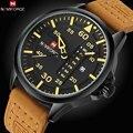Luxury Brand NAVIFORCE Fecha Japón Movt Square Hombres Reloj de Cuarzo Ocasional Militar Del Ejército Reloj Deportivo Relojes de Los Hombres Reloj de Cuero Masculino